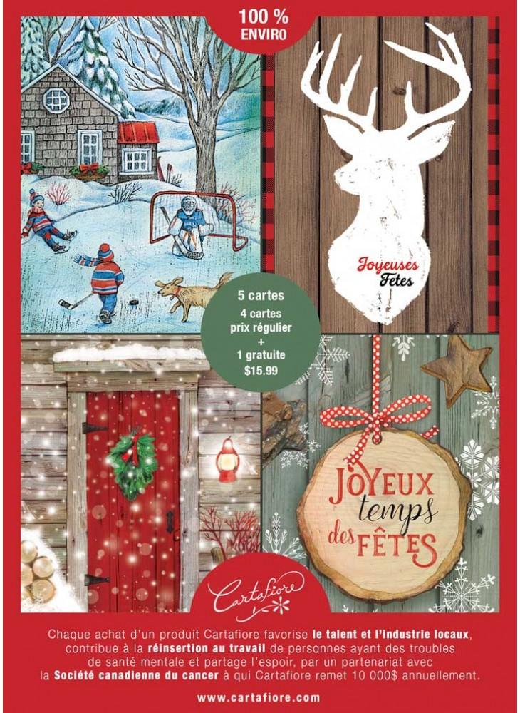Assortiment de cartes de Noël au design classique sans texte